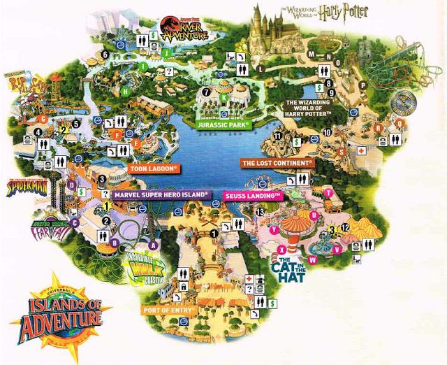 Mapa de lo parque Islands of Adventure en Orlando