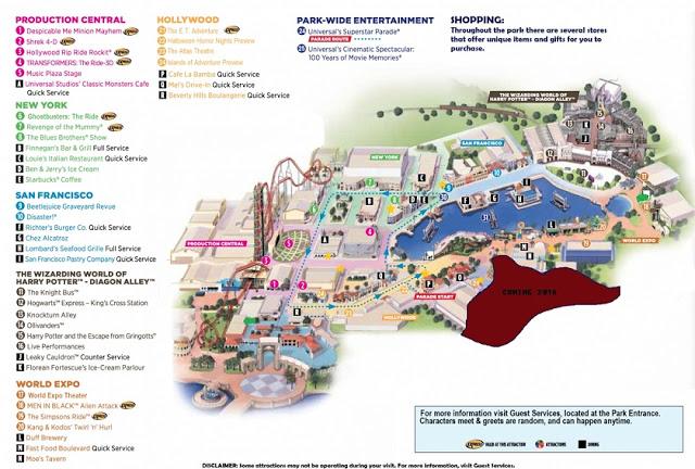 Mapa del Parque Universal Studios en Orlando