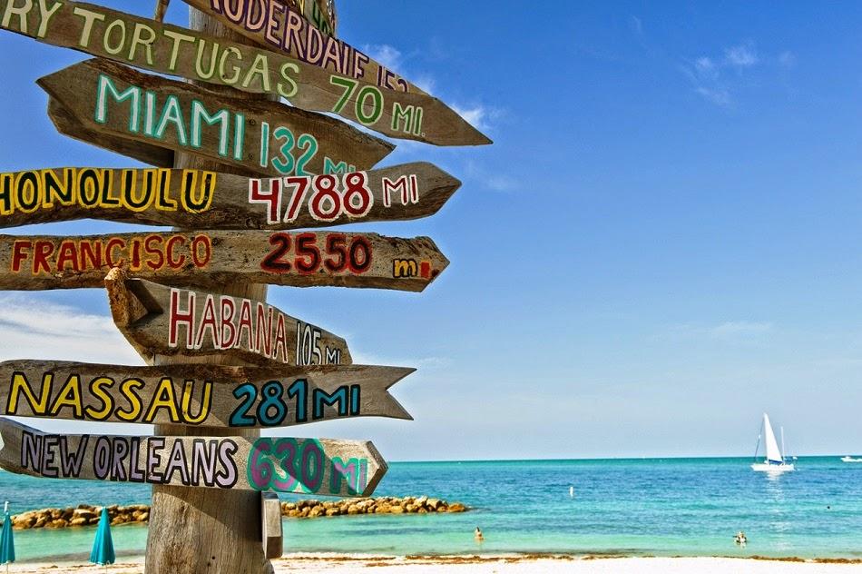 Carteles indicando playas en Flórida